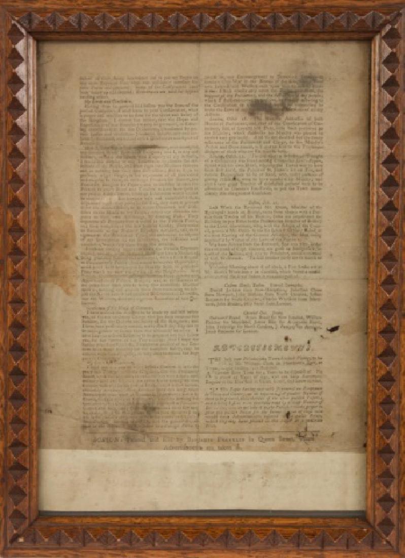 First Newspaper of Benjamin Franklin, 1723 - 3