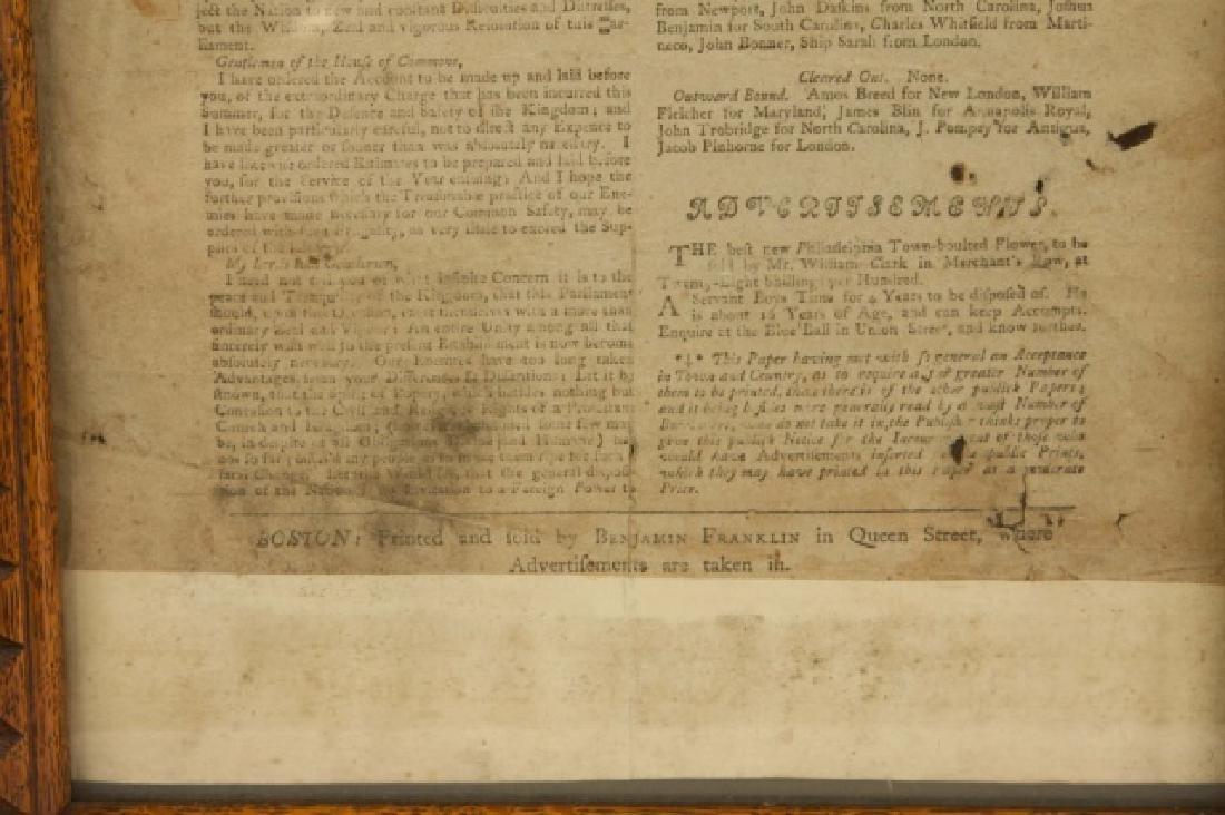 First Newspaper of Benjamin Franklin, 1723 - 4