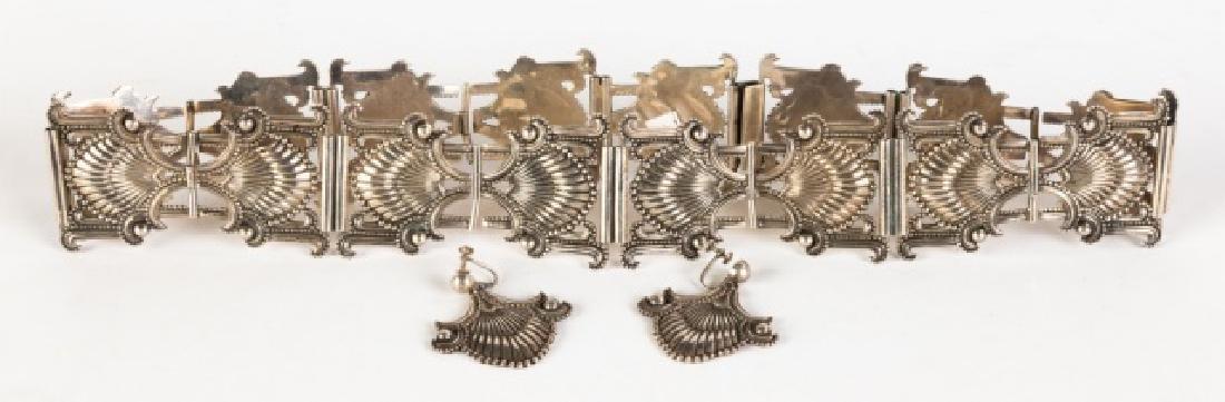 Margot de Taxco, Mexican Sterling Belt and Earrings