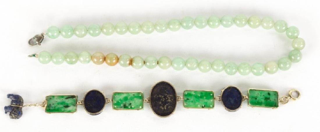 Jade and Lapis Bracelet with Jade Necklace