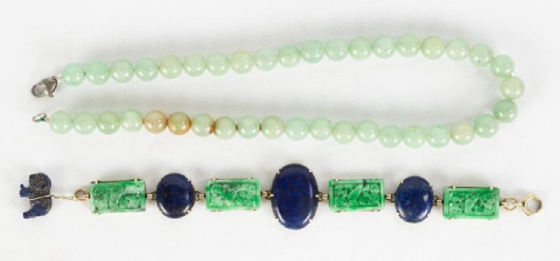 Jade and Lapis Bracelet with Jade Necklace - 2
