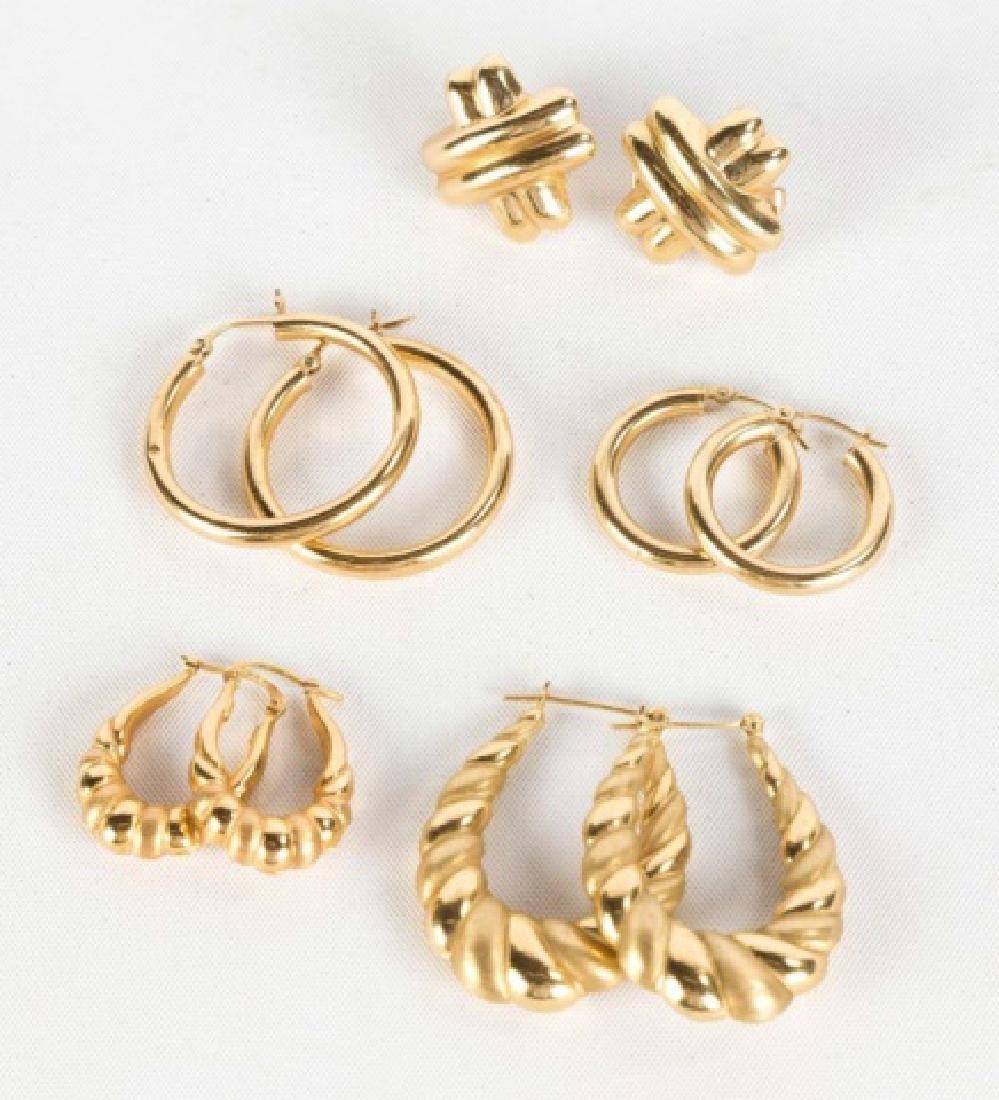 Five Pairs of 14K Gold Earrings