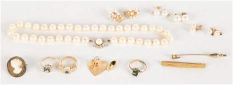 Group of Pearl and Gold Jewelry