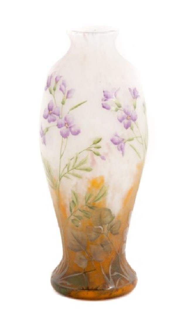 Daum Nancy Acid Cut Cameo Vase