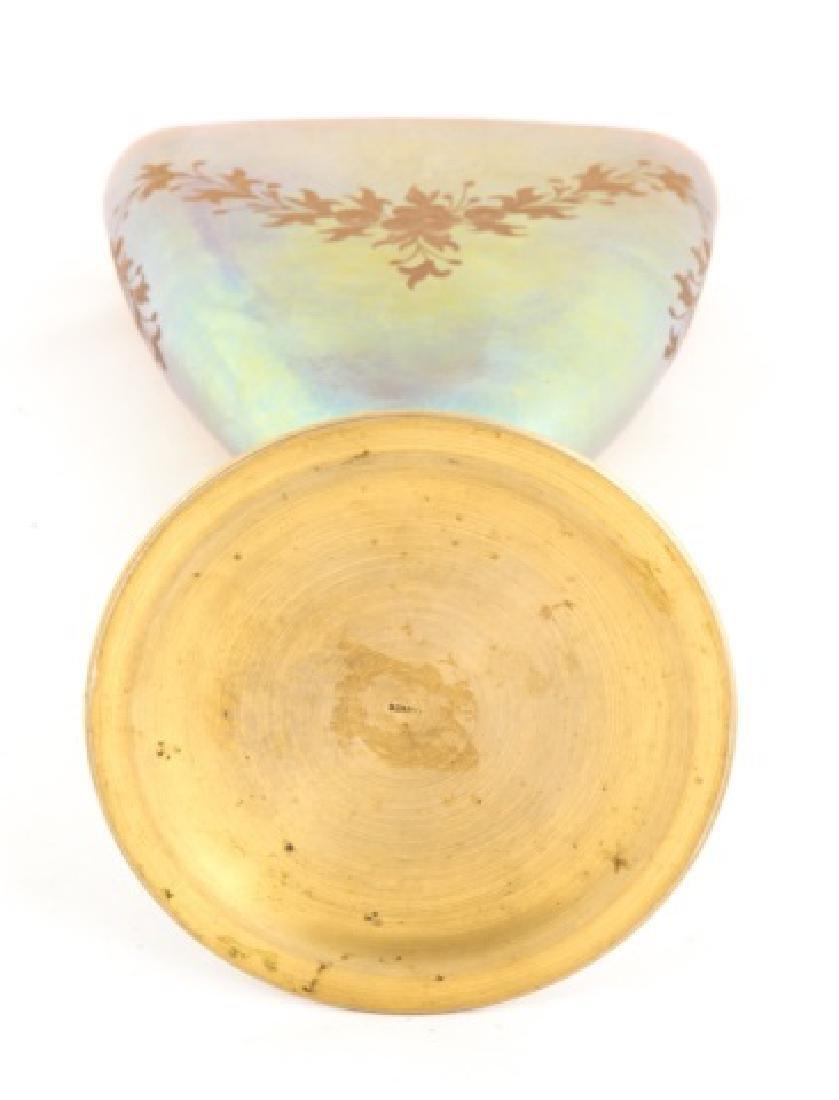 Unusual Steuben Gold Aurene Etched Vase with Bronze - 2