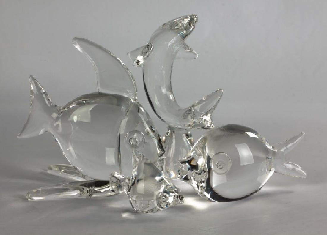 Group of 4 Steuben Crystal Fish