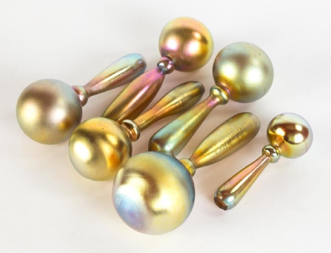 Six Steuben Gold Aurene Sock Darners