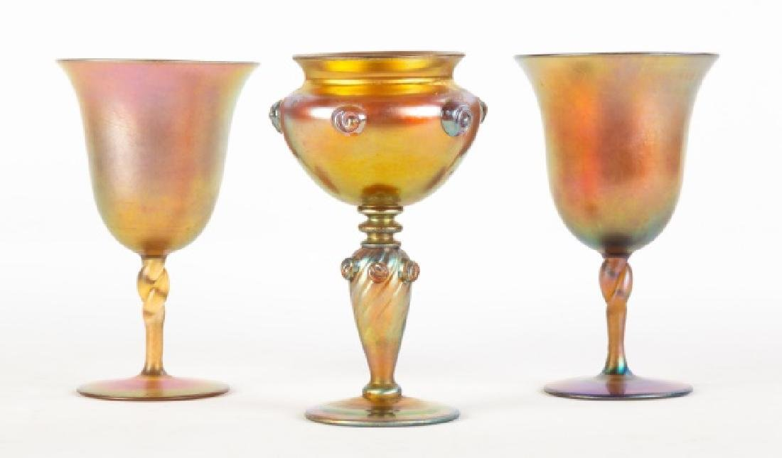 Pair Gold Aurene Goblets and Goblet with Applied