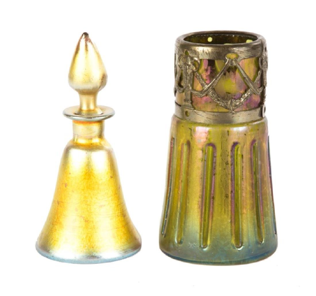 Steuben Cologne and Austrian Vase with Brass Mounts