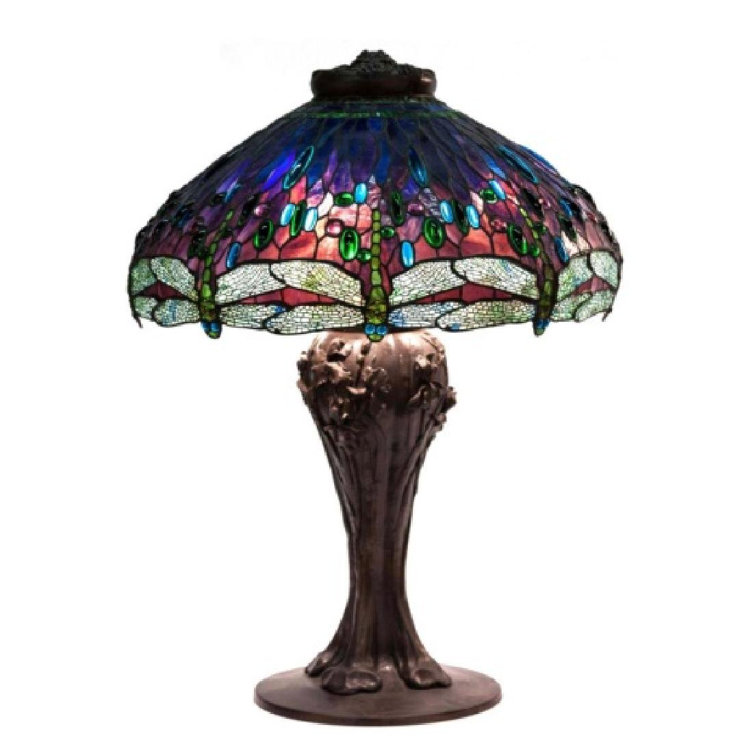 Leaded Glass and Jeweled Drop Head Dragonfly Table Lamp