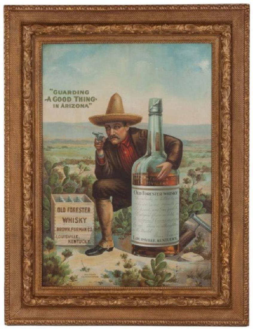 Rare Tin Lithograph Old Forester Whiskey Sign: