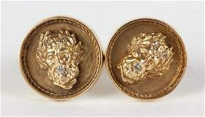 Vintage 14k Gold  Diamond Cuff Links with Greek Gods