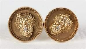 Vintage 14k Gold & Diamond Cuff Links with Greek Gods