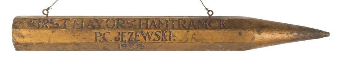 Carved and Gilt Wood Pencil Political Sign, First Mayor