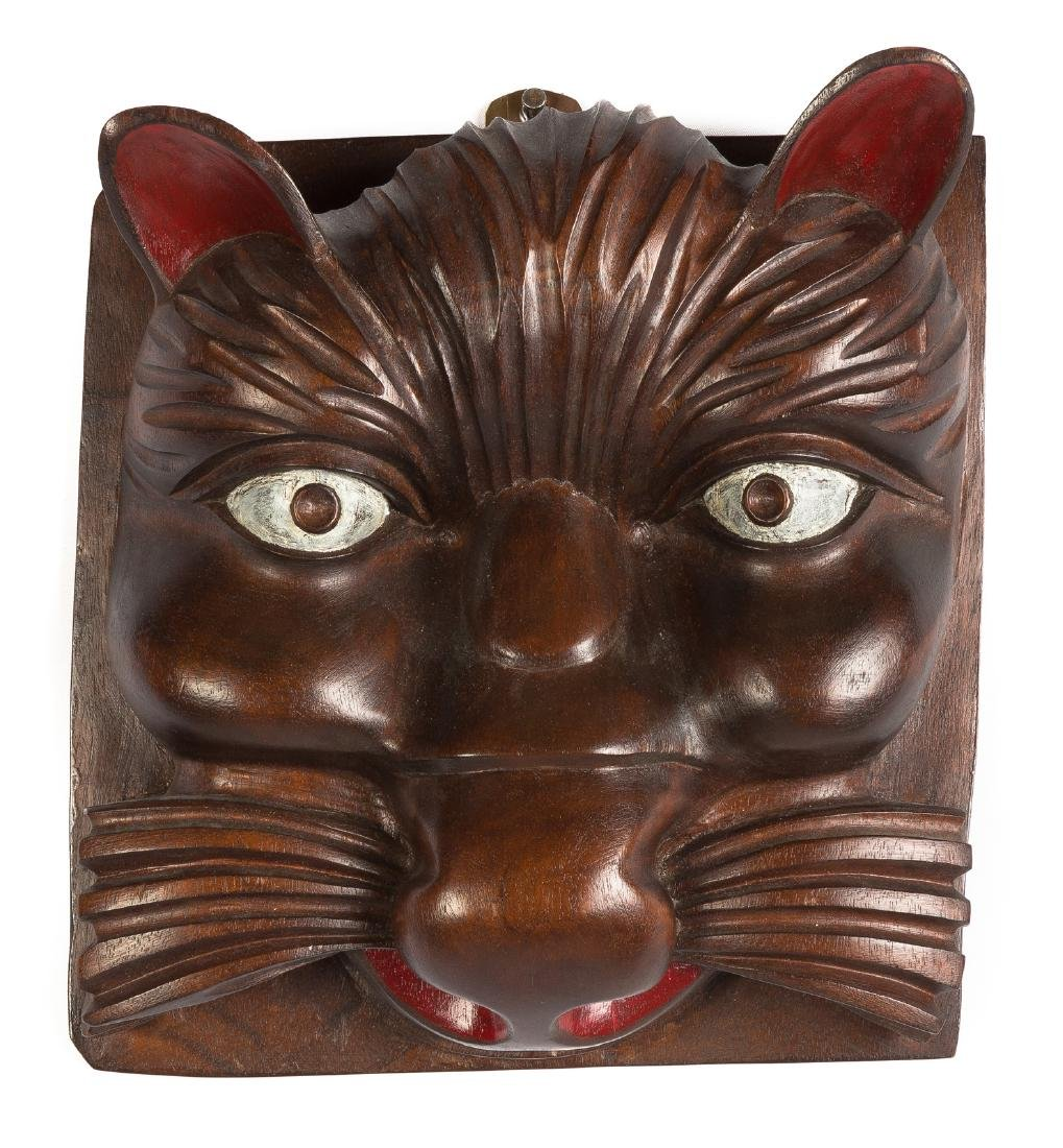 Carved & Painted Mahogany Face