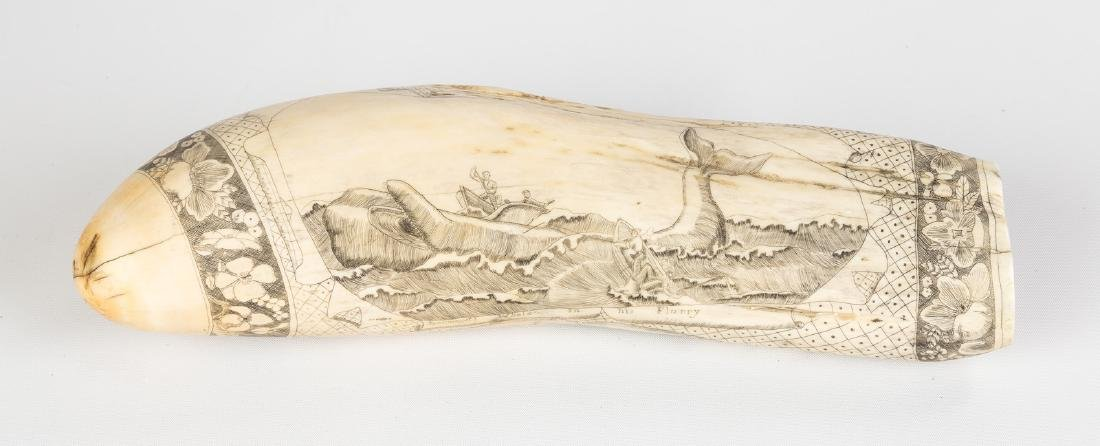 Large 19th Century Scrimshaw Whale Tooth with Whaling