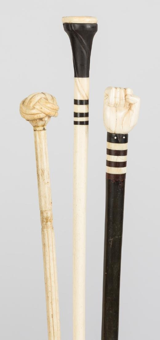 Group of Whale Bone & Ebony Canes