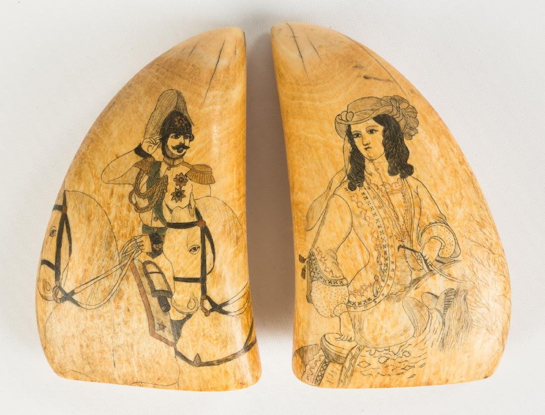 Pair of 19th C. Polychrome Scrimshaw Whales Teeth