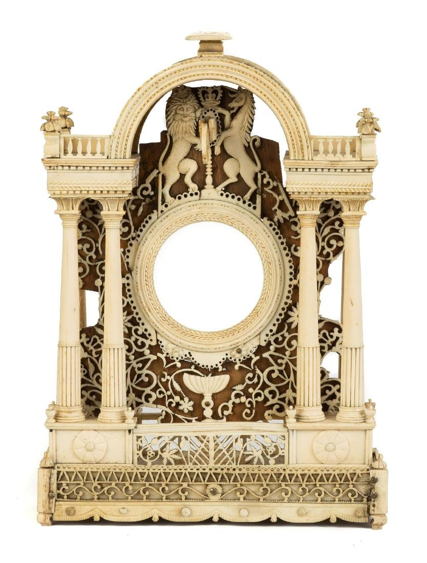 19th Century Finely Carved Bone & Wood Watch Hutch