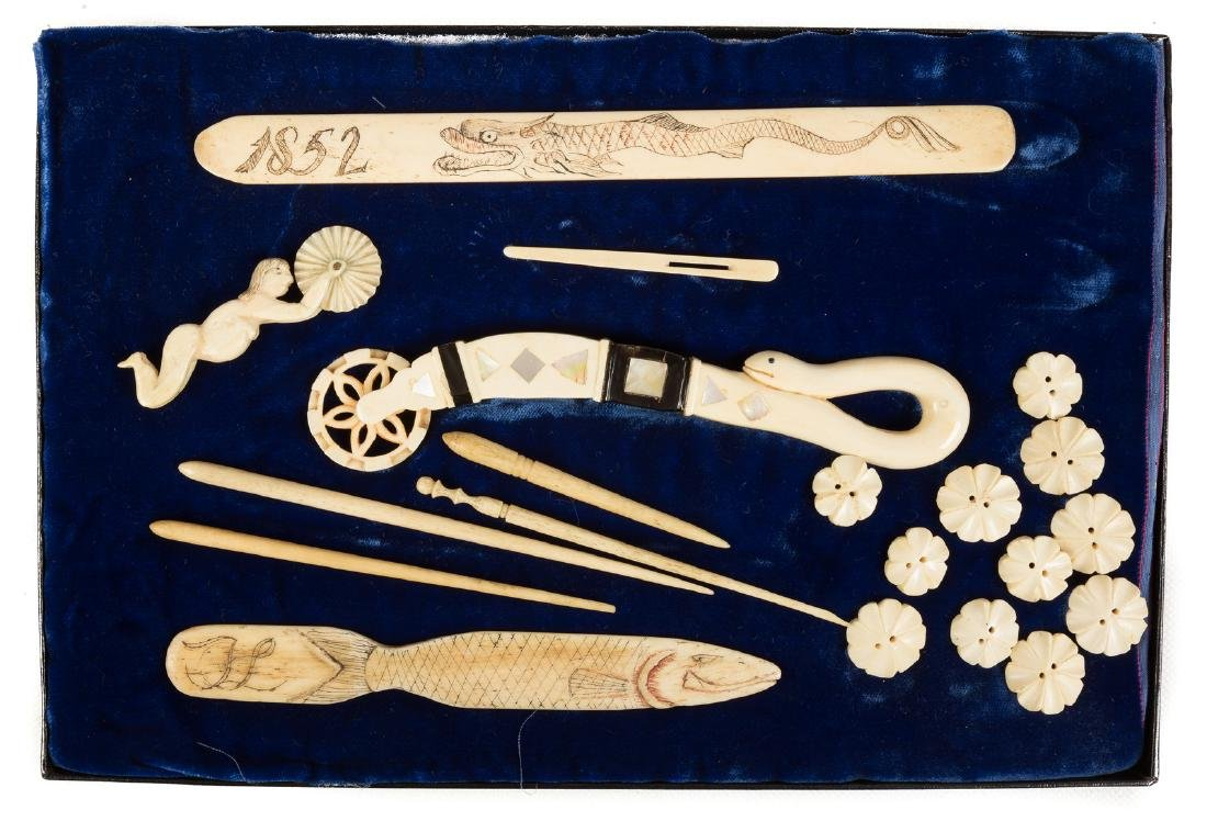 Group of 19th Century Scrimshaw Items