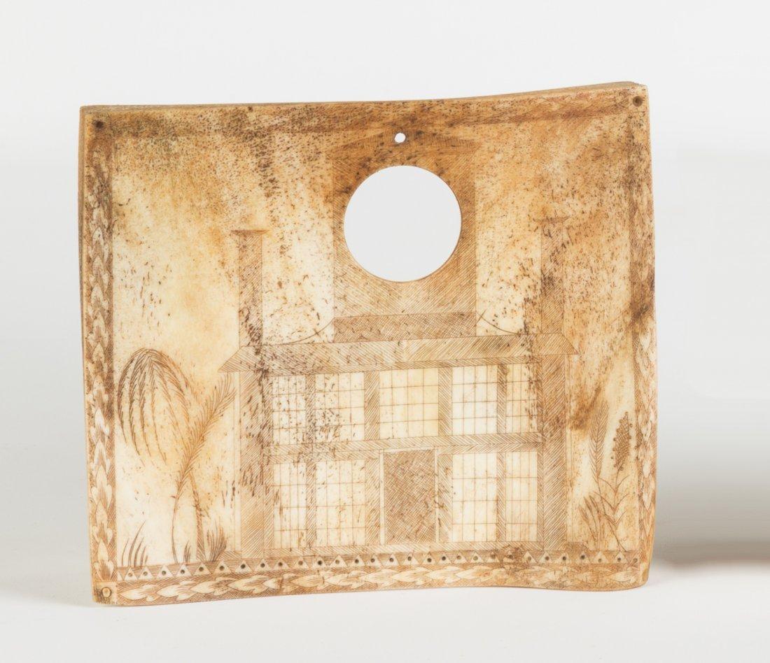 19th Century Whale Bone Scrimshaw Watch Hutch