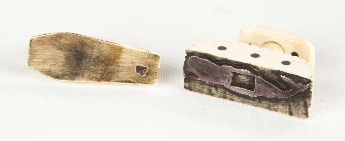 19th Century Carved Whale Bone Whaling Ledger Stamps - 2
