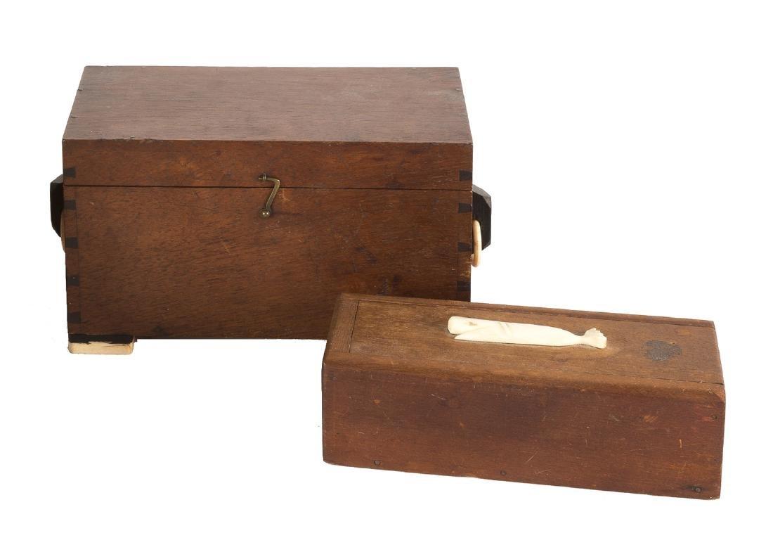 19th Century Wood & Scrimshaw Ditty Box & Scrimshaw