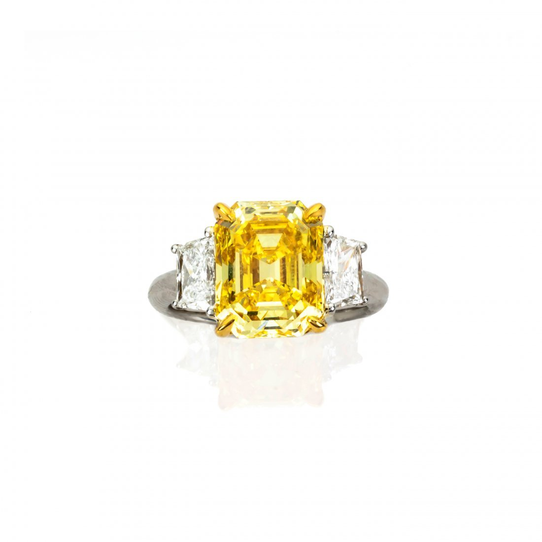 5 Carat Fancy Vivid Yellow Diamond & Diamond Ring