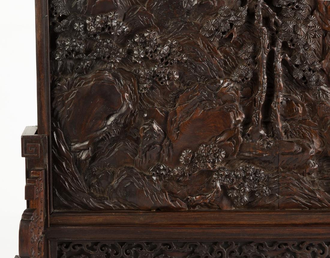 Chinese Carved Hardwood 'Scholar' Table Screen with - 4