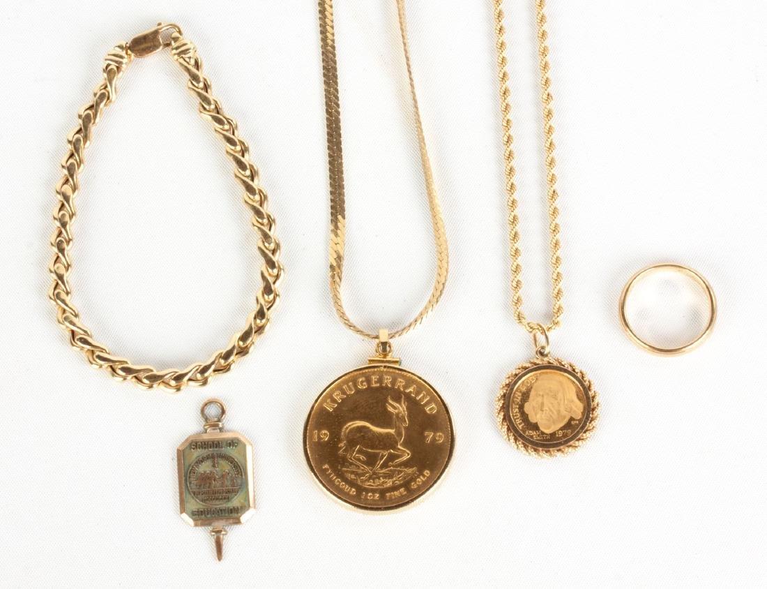 Group of Gold Necklaces, Bracelet & Pendants