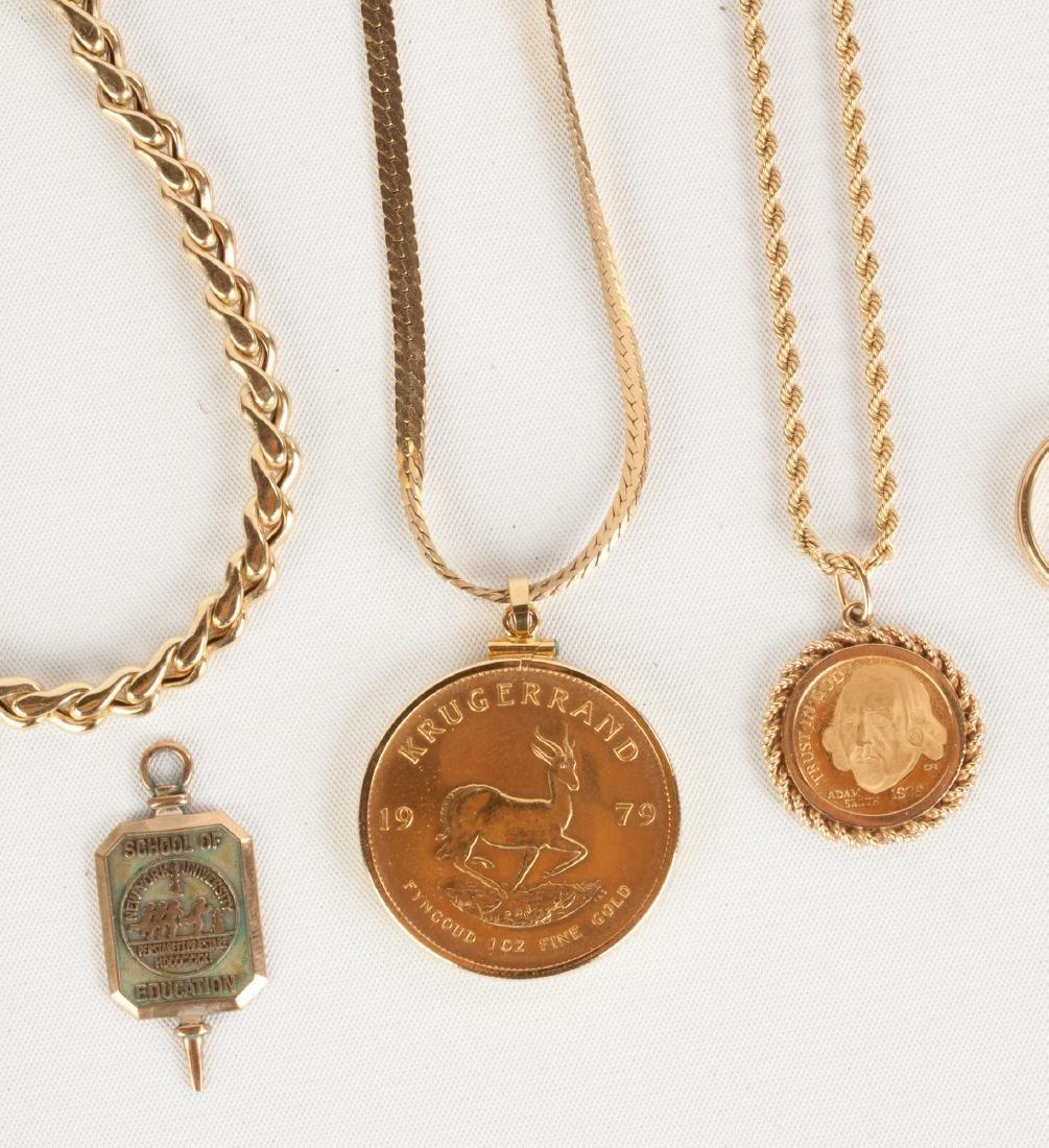 Group of Gold Necklaces, Bracelet & Pendants - 2