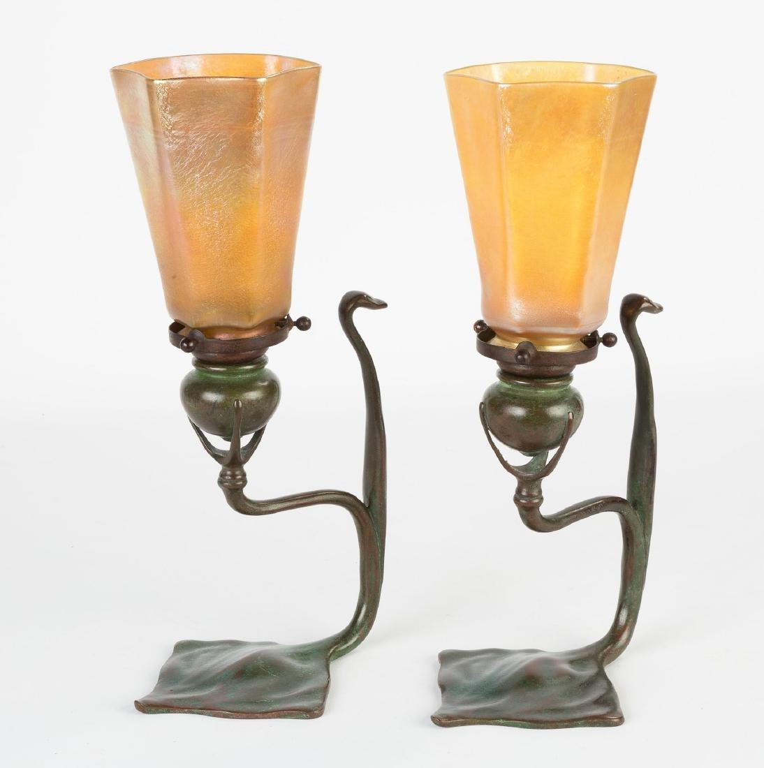 Pair of Tiffany Studios Cobra Candle Lamps