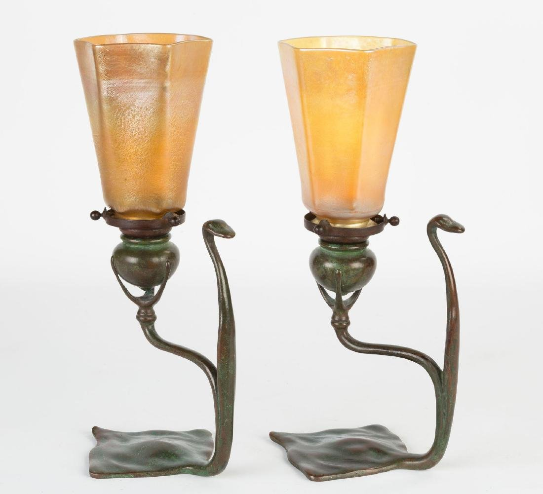 Pair of Tiffany Studios Cobra Candle Lamps - 3