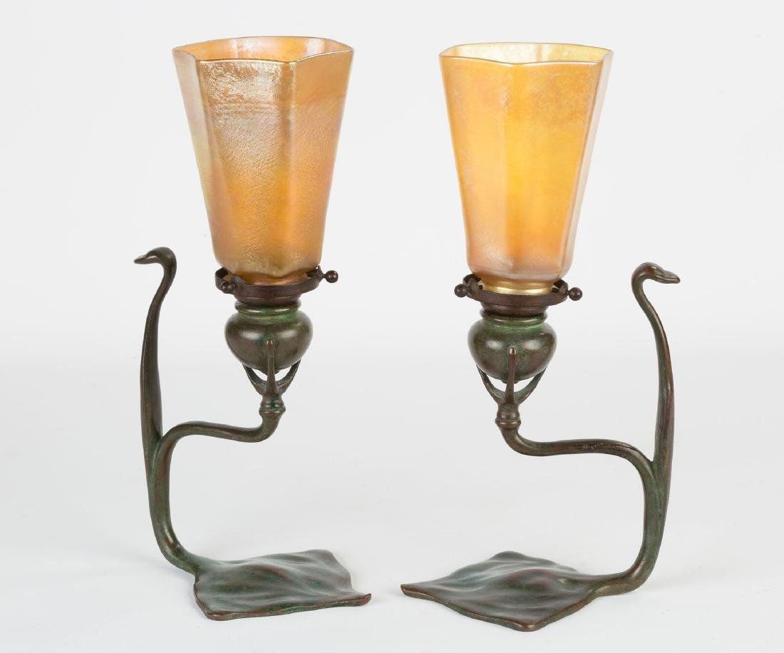 Pair of Tiffany Studios Cobra Candle Lamps - 4
