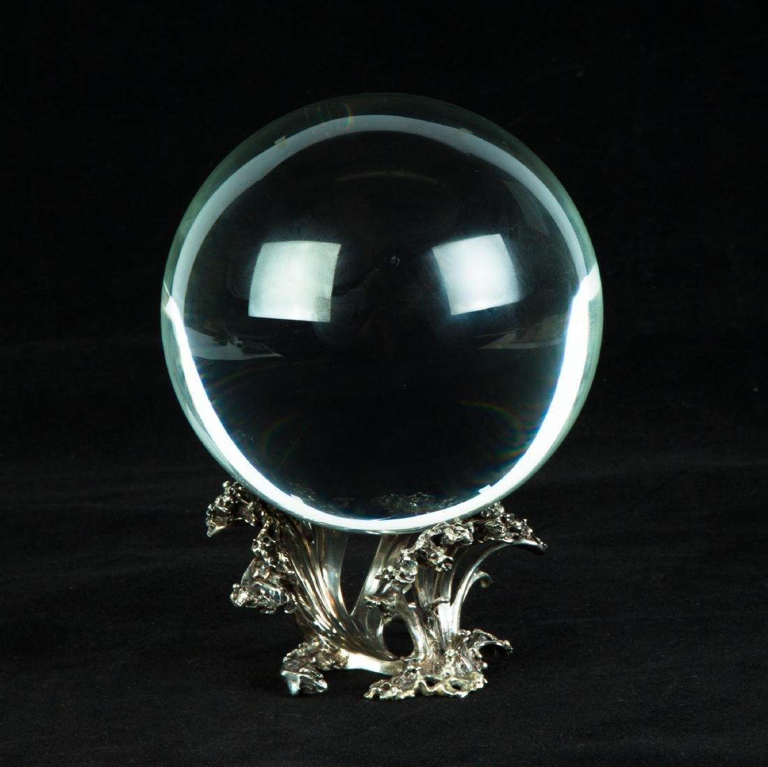Steuben Crystal Ball on Sterling Silver Wave Base