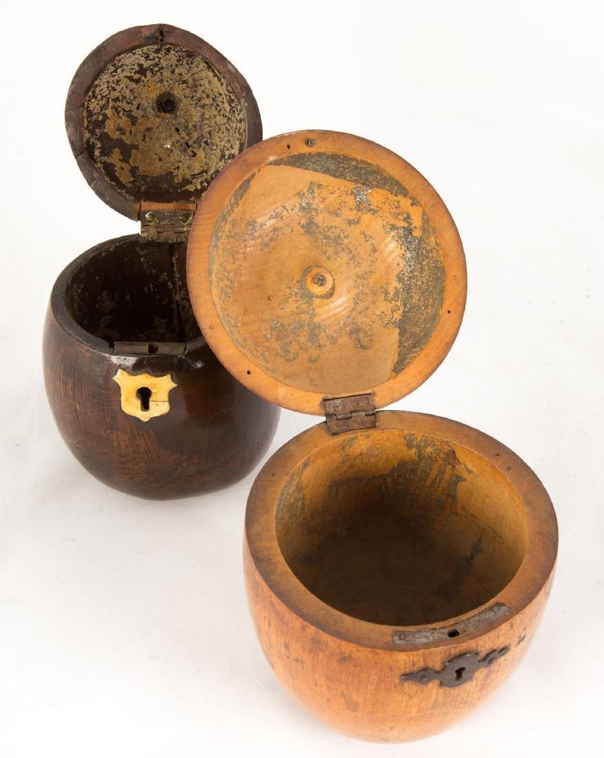 George III Wooden Pear and Apple Tea Caddies - 2