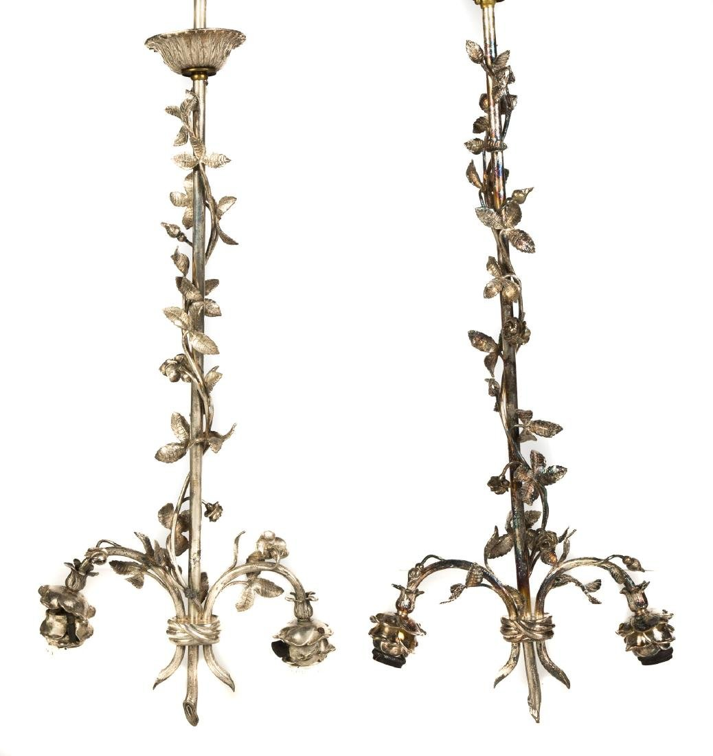 Pair of Silver Plated Bronze Hanging Fixtures