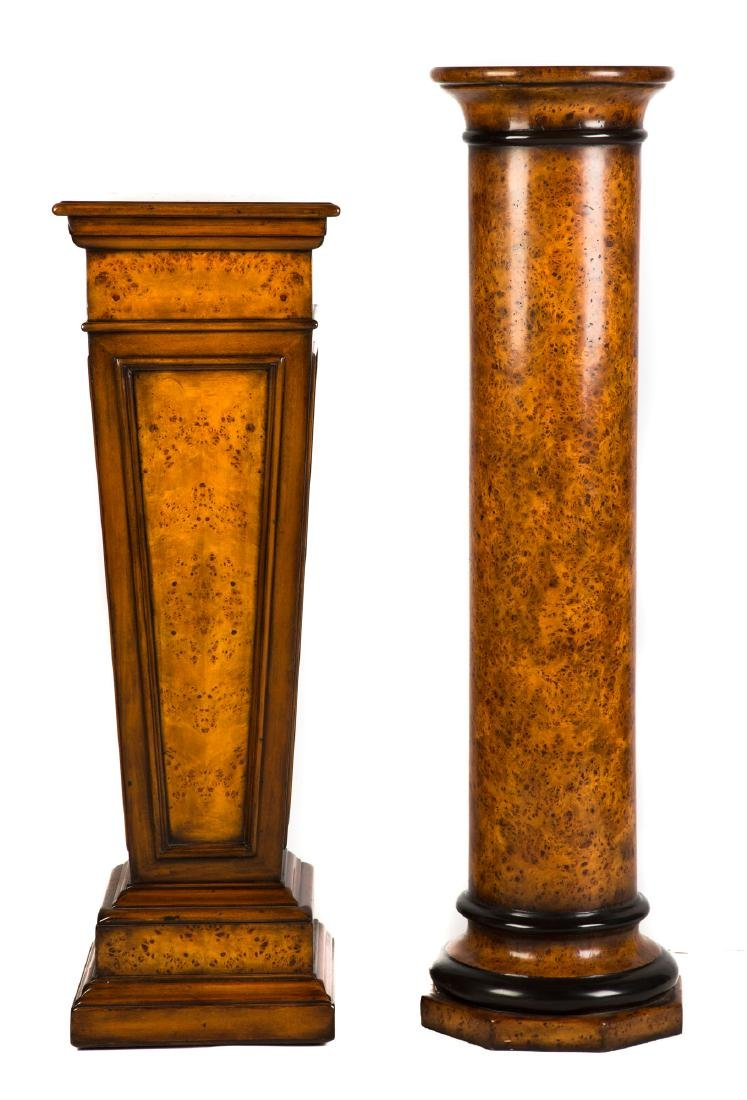 Two Contemporary Burlwood and Ebonized Pedestals