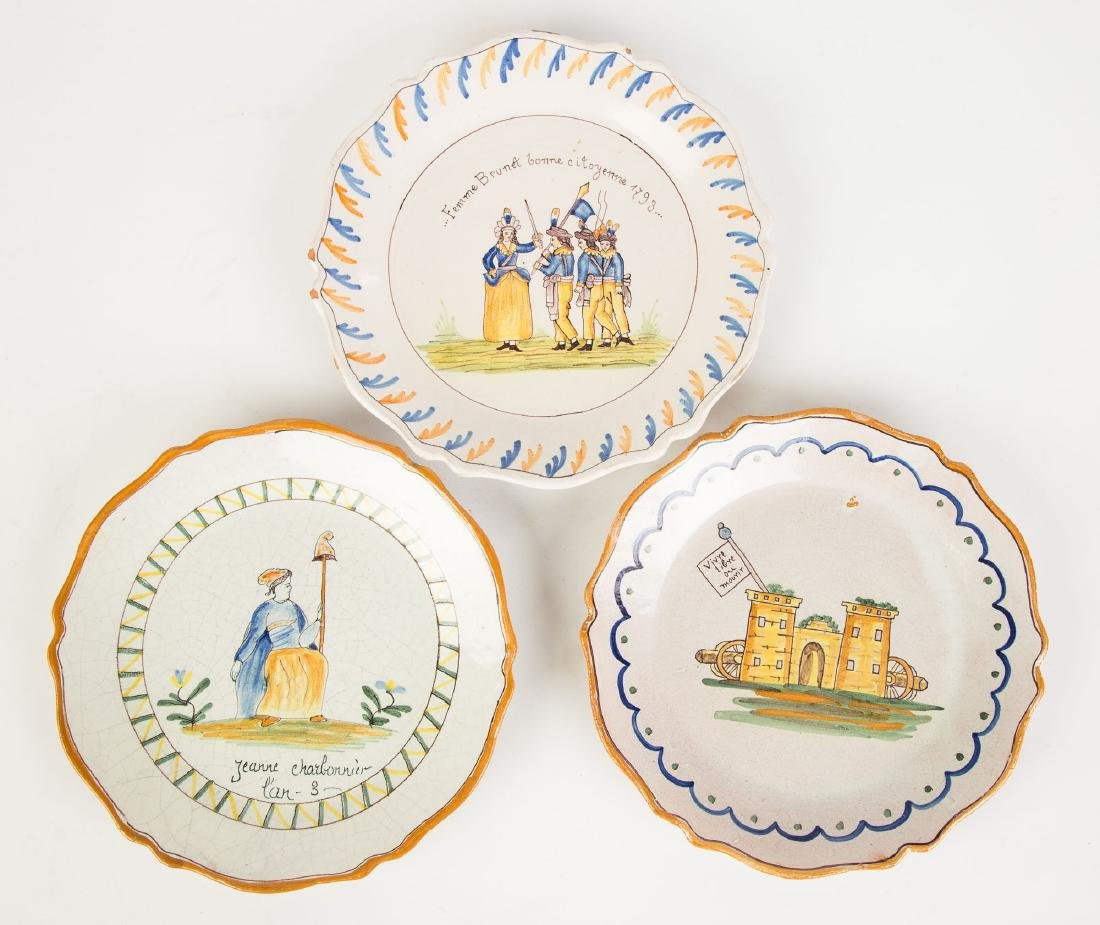 Three Early French Faience Plates