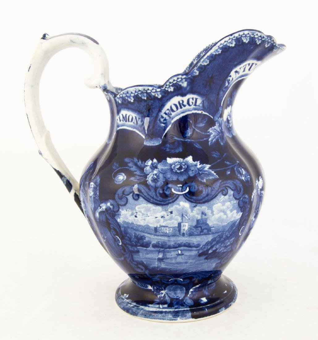 Historic Blue Staffordshire State's Pitcher