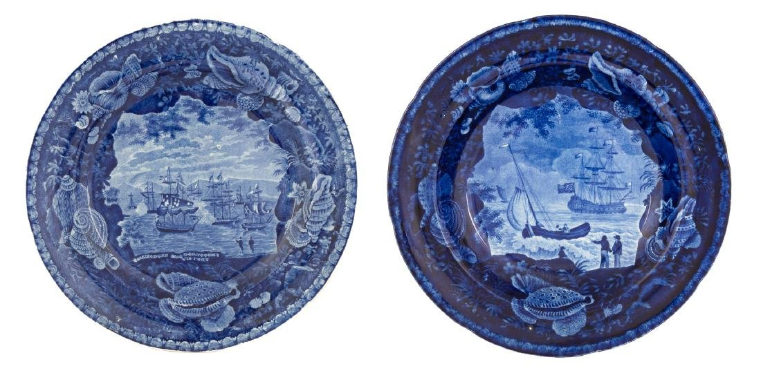 Historic Blue Staffordshire Plate and Bowl