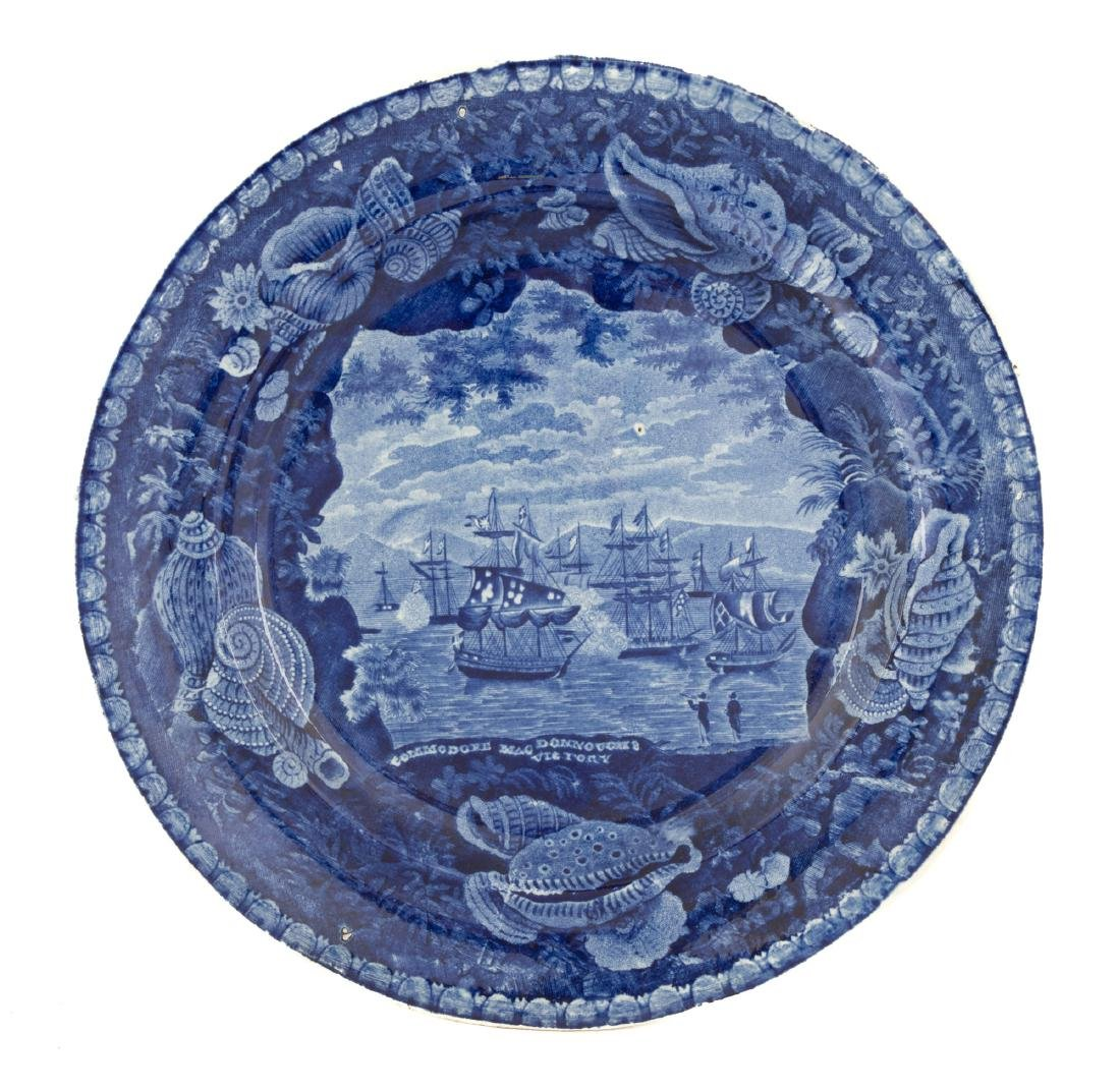 Historic Blue Staffordshire Plate and Bowl - 2