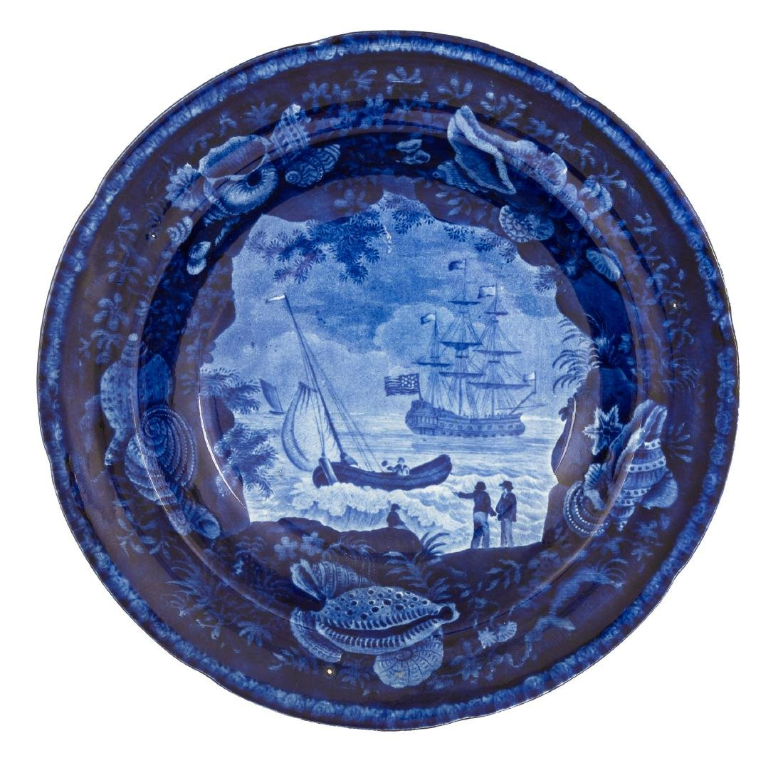Historic Blue Staffordshire Plate and Bowl - 3