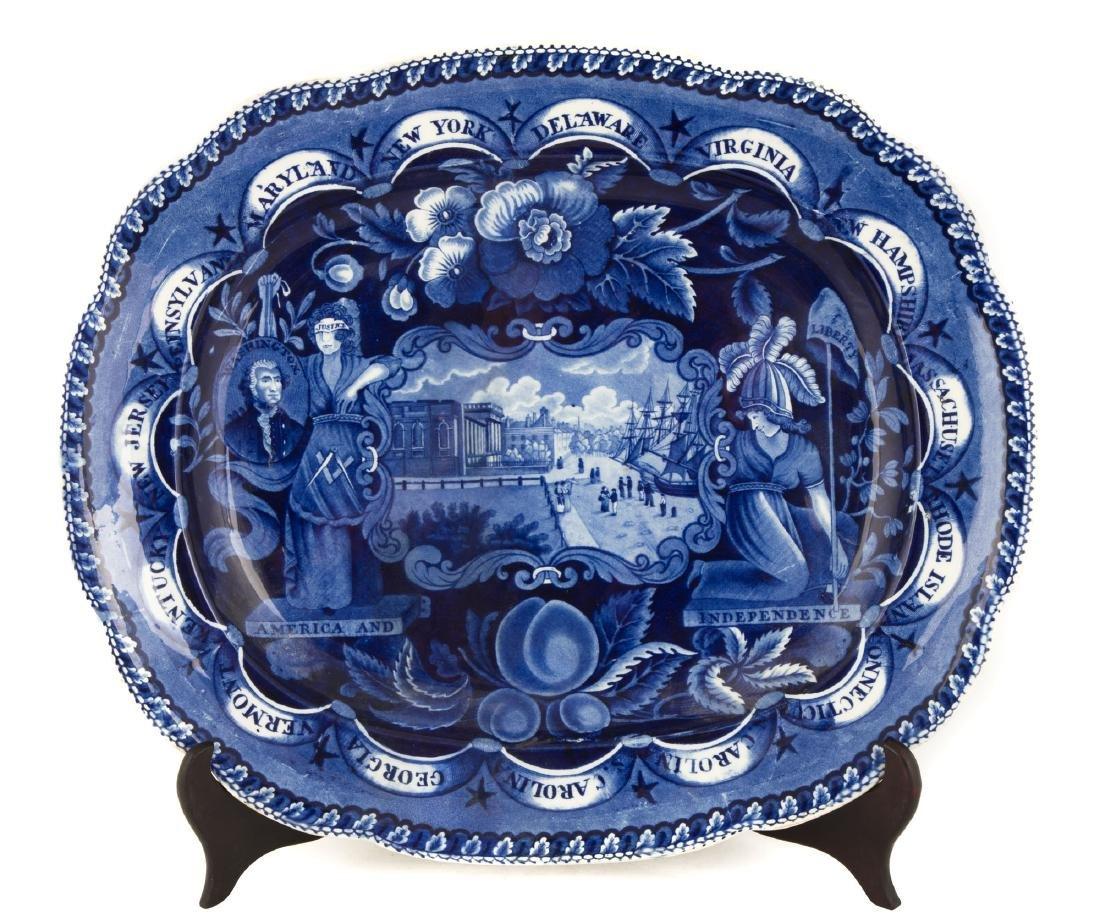 Historic Blue Staffordshire States Platter