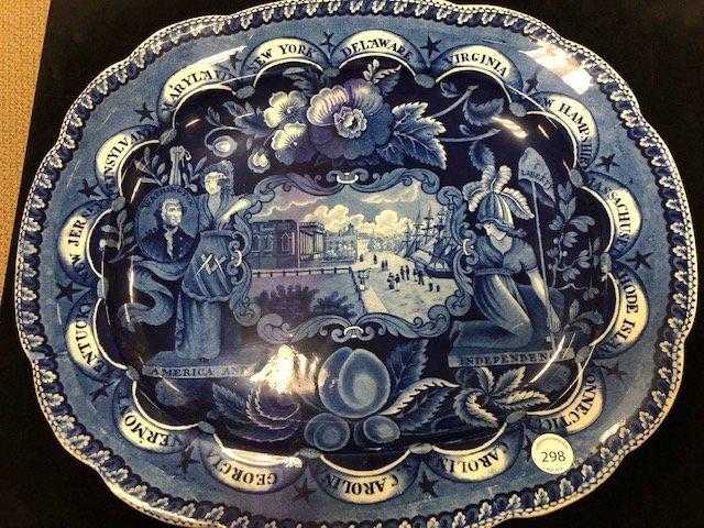 Historic Blue Staffordshire States Platter - 2