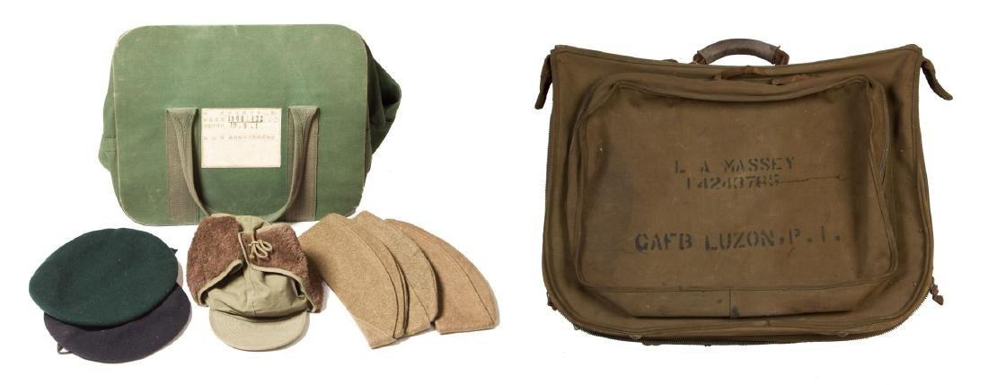 Group of Military Hats, Bag and Suitcase