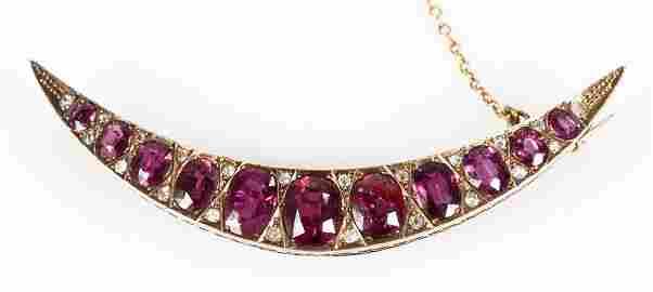 10K Gold, Natural Ruby & Diamond Brooch