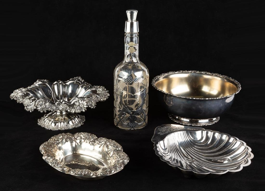 Four Silver Bowls and Silver Overlay Decanter