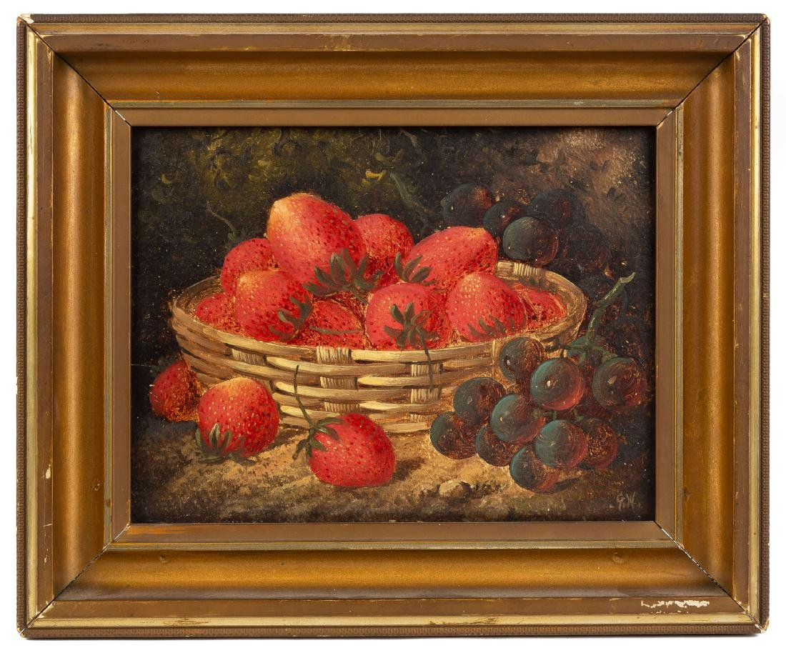 Attr. George Hall, Still Life of Strawberries & Grapes
