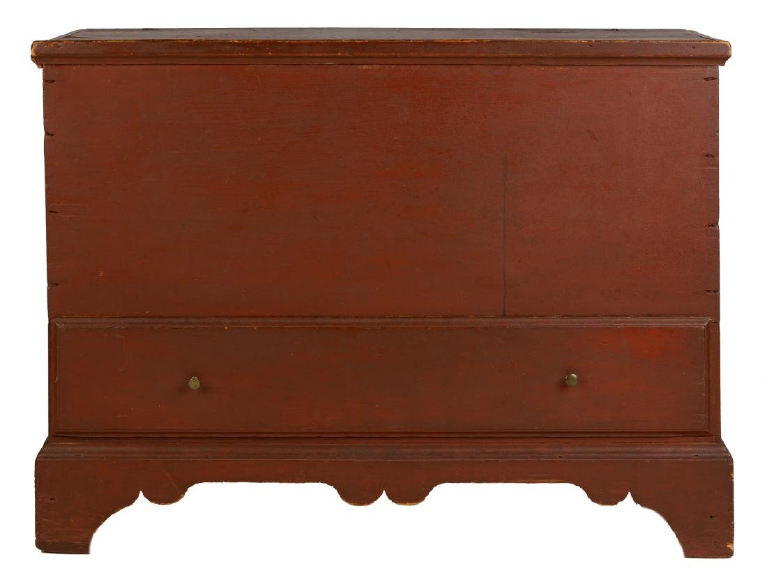 New England One Drawer Red Painted Blanket Chest